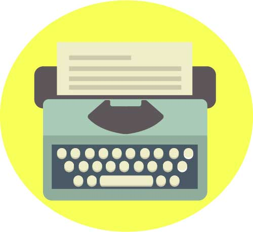 Local SEO content typewriter logo by Shari Rose | Blurred Bylines