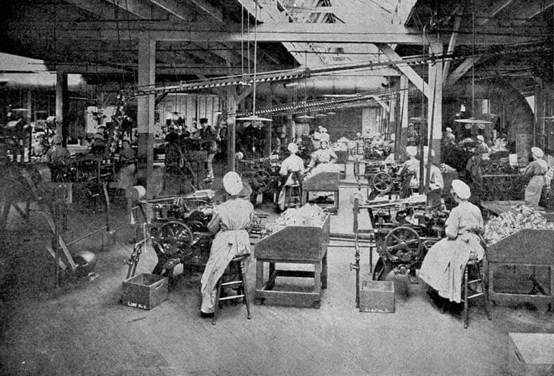 Women working in piecework factory in 1909.