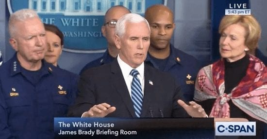 VP Mike Pence appears with coronavirus task force on March 15.