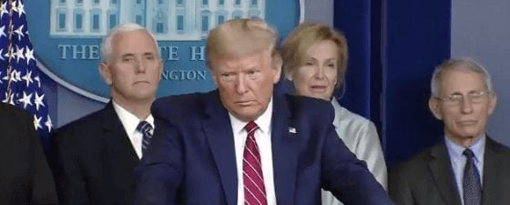 Donald Trump listens to Peter Alexander's question about COVID-19 on .