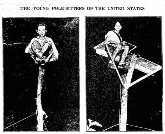 Baltimore flagpole sitters Avon Foreman and Ruth McCruden.