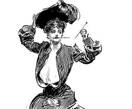 Woman holding hat pins, ready to stab.