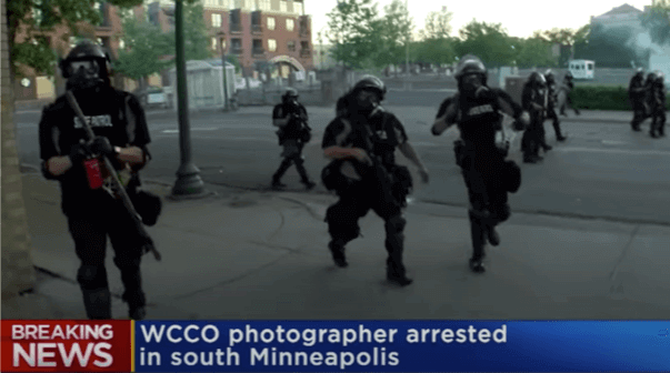 WCCO journalist Tom Aviles takes video as Minn police turn to arrest him during Floyd protests.