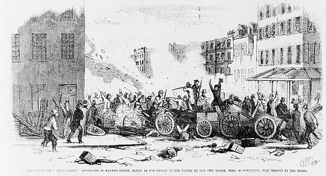 Dead Rabbits and Bowery Boys during a gang riot.