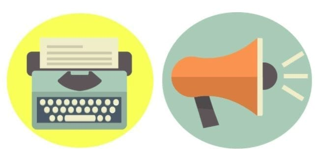 Images of a typewriter and megaphone by Shari Rose.