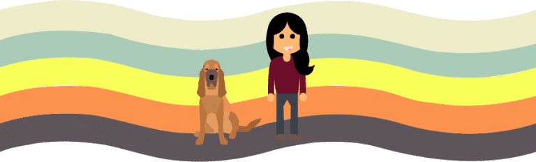 Illustration of Shari Rose and her dog, Maggie.