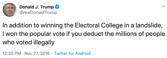 Trump says on Twitter that millions of people voted illegally in 2016.
