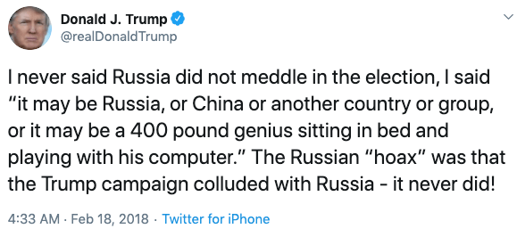 Trump attacks the Russia investigation on Twitter in 2018.