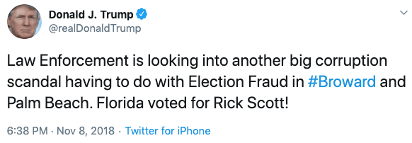 Trump tweets that election fraud occurred in the Florida 2018 midterms.