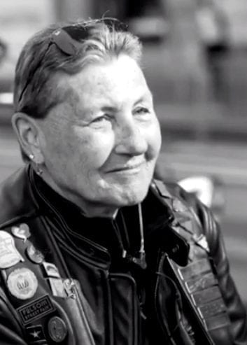 Soni Wolf, founding member of Dykes on Bikes motorcycle club.