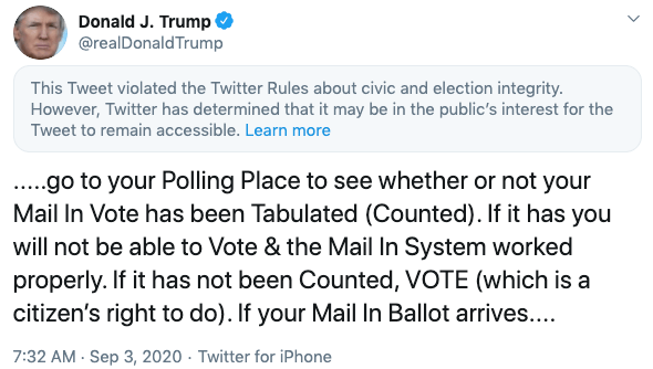 Trump tells supporters to vote twice in 2020 election.