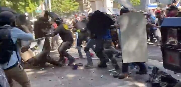 Proud Boys clash with counterprotesters in Portland.
