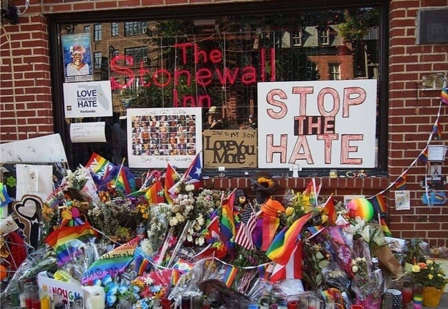 Stonewall Inn in 2016 with memorial for Orlando shooting.