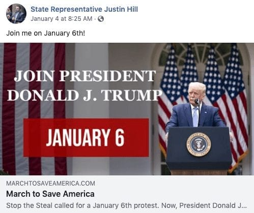 Facebook invite for Jan. 6 rally in DC from Justin Hill.