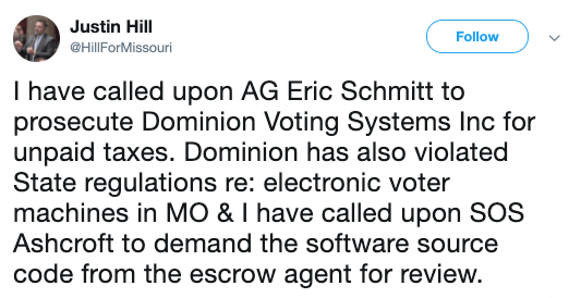 Justin Hill spreads Dominion conspiracy on Twitter.
