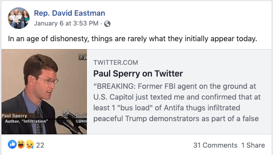 David Eastman wrongly blames Antifa for Capitol attack.