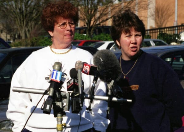 Otherside owners Beverly McMahon and Dana Ford speak to press after the bombing.