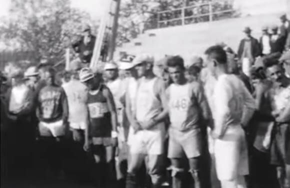 Bunion Derby runners line up at the starting line in Los Angeles in 1928.