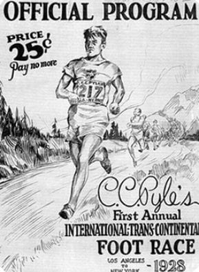 Official 1928 poster of the Trans-Continental Foot Race, or Bunion Derby, put on by C.C. Pyle