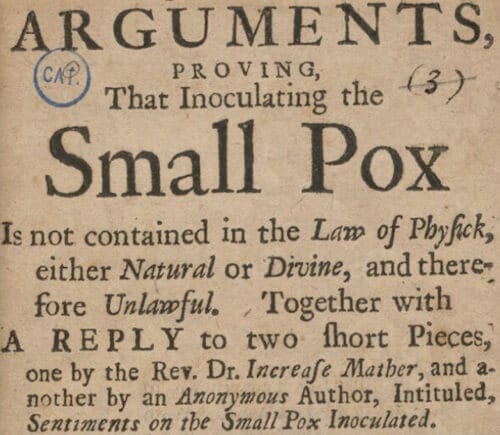 Poster arguing against smallpox inoculation in 1721