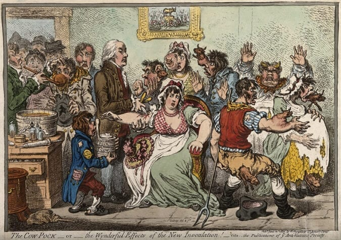 Newspaper cartoon against smallpox inoculation