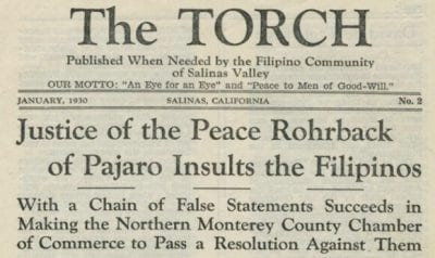 The Torch Filipino paper in 1930.