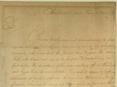 Letter from Washington about smallpox inoculations of new recruits