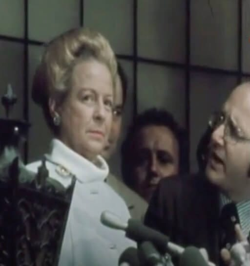 Martha Mitchell speaks to reporters after John's indictment