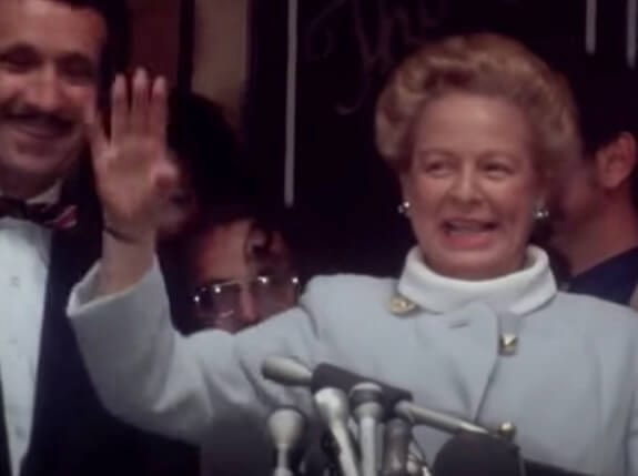 Martha Mitchell at a press conference in 1973